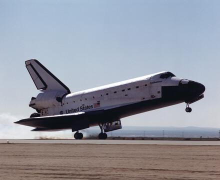Space shuttle Endeavour lands in the desert