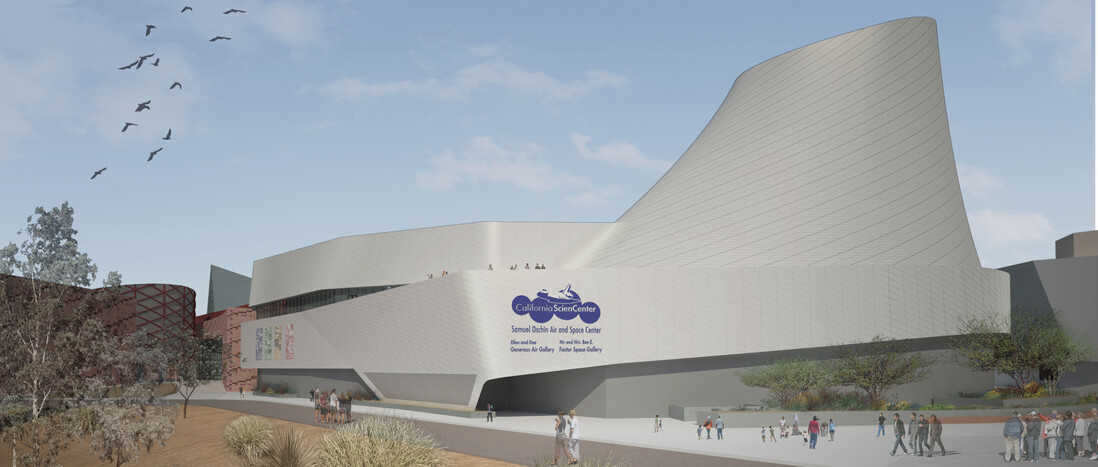 Rendering of the Samuel Oschin Air and Space Center from the Southeast